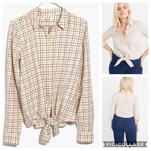 Madewell Rainbow Plaid Tie Front Shirt